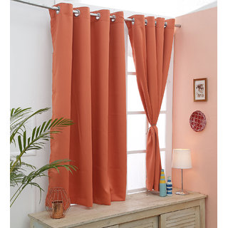 Cliths Orange  Set of 2 Panel Grommet Energy Saving Blackout Curtain (Window- 4.5 x 5 ft)