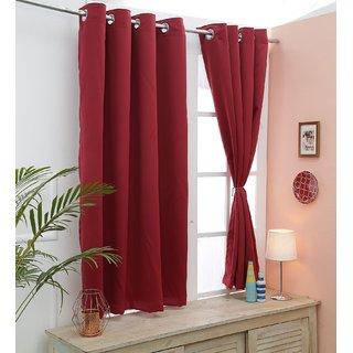 Cliths Pack of 2 Panels Room Darkening Maroon Blackout Curtain (V.LongDoor- 4.5 x 10 ft)