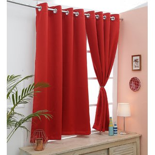Cliths Both Sided Red Color Room Darkening Blackout Curtains-Two Panels (L.Window- 4.5 x 6 ft)