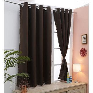 Cliths Brown 2 Panels Grommet Light Blocking Blackout Curtain (V.LongDoor- 4.5 x 10 ft)