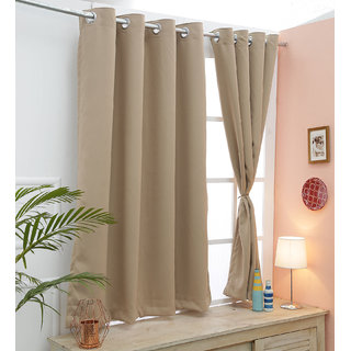 Cliths Camel color Triple Layer Energy Saving Blackout Curtains - 2 Panels (Window- 4.5 x 5 ft)