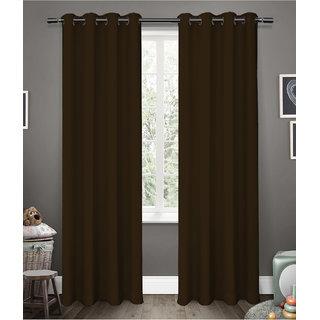 Cliths 2 Panels Dark Brown Grommet Room Darkening Blackout Curtain (L.Window- 4.5 x 6 ft)