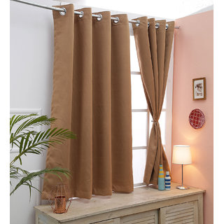 Cliths Set of 2 Panels Tan Room Darkening Blackout Curtains for all Sizes (Window- 4.5 x 5 ft)