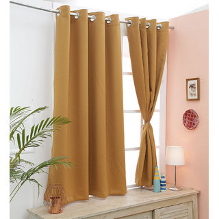 Cliths Orange 2 Panels Grommet Room Darkening Blackout Curtain (Door- 4.5 x 7 ft)