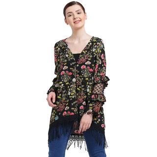 Texco Women Multicolour V' Neck Floral Print Shrug