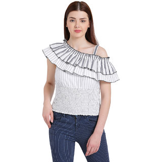 975fbbcaffcf3 Buy Texco Women White One Shoulder Stripe Top Online - Get 68% Off