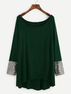 Westrobe Women Teal Green Contrast Sequin Cuff Top