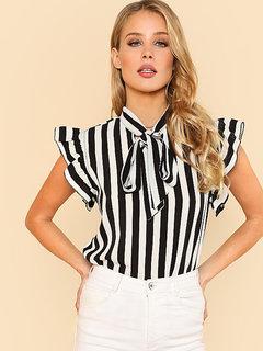 Westrobe Women Tie Neck Flutter Sleeve Black White Striped Top - FB-TOP-123