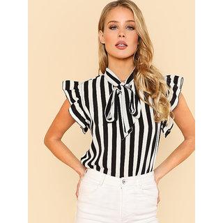 3f76e6da2ef7da Westrobe Women Tie Neck Flutter Sleeve Black White Striped Top - FB-TOP-123