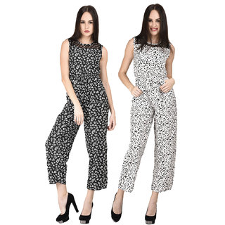 Westrobe Women Black Floral And White Tiger Printed Jumpsuits Combo