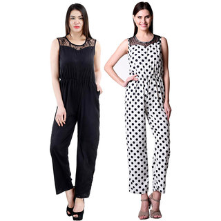 Westrobe Women Black Plain And White Polka Dot Printed Jumpsuits Combo
