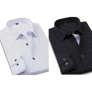 Black  White Dotted Shirts Combo