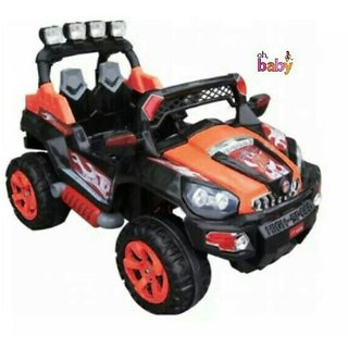 Oh Baby Battery Operated RED Color MONSTER Jeep TYRE AND TUBE With Key Start Double Battery For Your Kids SE-BOC-48