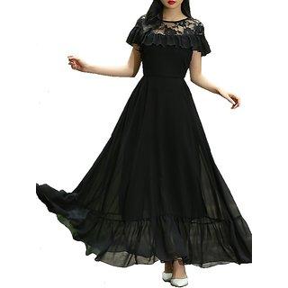 Raabta Fashion Women Black Plain Fit & Flare Dress