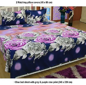Polycotton 3D Double bedsheet with 2 Pillow Covers ( PL-010)