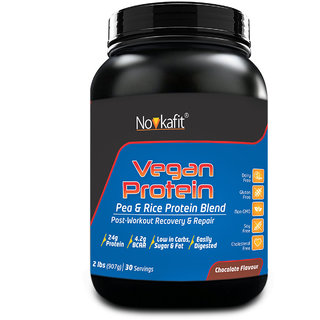 Novkafit Vegan Protein  Pea  Rice Protein Isolate (100 Plant-Based)  2 lb (907 g)  Chocolate