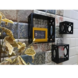 Onlineshoppee Home Decor Premium MDF Shelf Rack Wall Bracket handicraft design (Color-Black