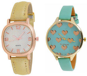 SW-AR-M004+G005 Metal Belt Gold Color White Color Green Color Leather Combo Watch Combo Watch From Spryworld Spry World