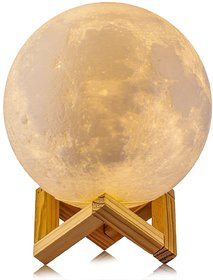 3D Printing Moon Light Works While Charging, 5.9 Tap Control Rechargeable Moon Lamp, Lunar Night Light for Home Decor,