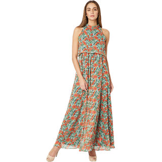 3f916675cd60d1 Buy Women s Multicolored Round Neck Sleeveless Paneled Floral High Neck Maxi  Dress Online - Get 71% Off