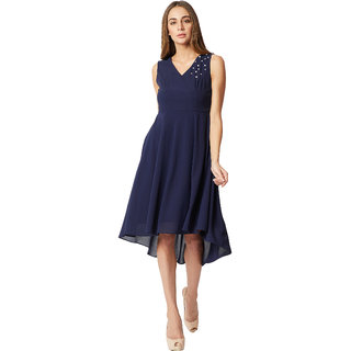 Women s Navy Blue V-Neck Sleeveless Solid Pearl Detailing High Low Style  Midi Skater Dress dfa2b56d17