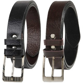 Winsome Deal Black  Brown Leatherite Pin-Hole Buckle Belts For Men Combo Of 2 (Synthetic leather/Rexine)