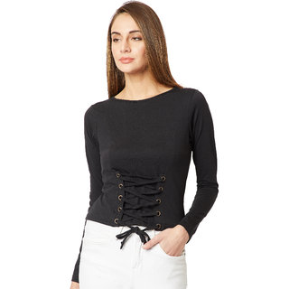 Women's Black Cotton Round Neck Full Sleeve Solid Paneled Criss Cross Tie-up Top