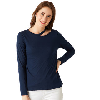 Women's Navy Blue Round Neck Full sleeve Cotton Solid Cut-Out Slit Shoulder Top