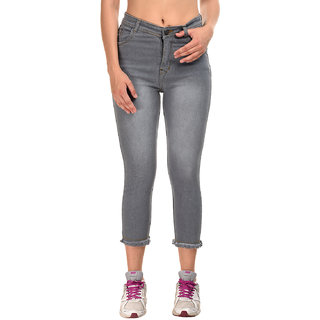 Essence Gray Color Washed Stylish Jeans For Womens