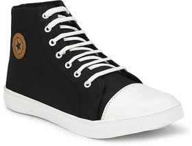 Despacito Men's Black Lace-up Casual Sneakers Shoes
