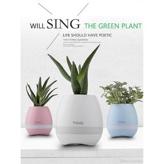 Smart Bluetooth Speaker Touch Piano Music Playing Rechargeable Wireless Flower Pots with Night Light