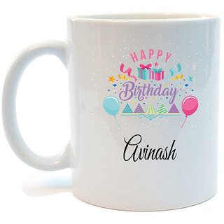 Happy Birthday Avinash Printed Coffee Mug by Juvixbuy