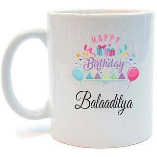 Happy Birthday Balaaditya Printed Coffee Mug by Juvixbuy