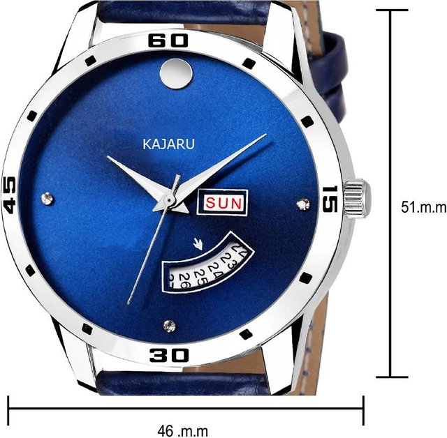 KAJARU DDL-008 BLUE DIAL DAY DATE FUNCTIONING WATCH - FOR MEN