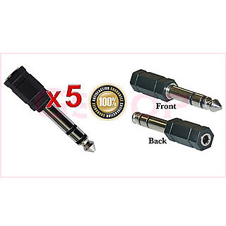 5 Packs 3.5mm Stereo Jack to 1/4 Stereo Plug Adapter black