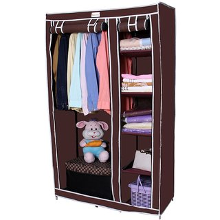 Novatic High Capacity Metal Frame Collapsible Wardrobe ( 6 Shelves + 1 Hanging Section )