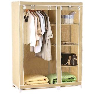 Imported Dual Door Space Saving Foldable Wardrobe for student small family easy with racks uniqe product simple almirahs