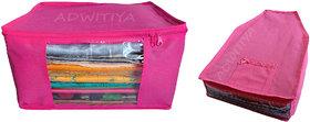 ADWITIYA Combo- Plain Nonwoven 1 Pcs Saree and 1 Pcs Blouse Salwar Suit Shirt Jeans Bedsheet Garment Cloth Cover (Pink)
