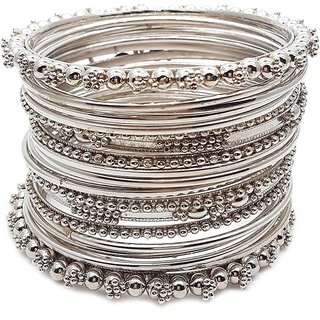 Chrishan Provides Silver Designer Metal Bangle Set For Women.