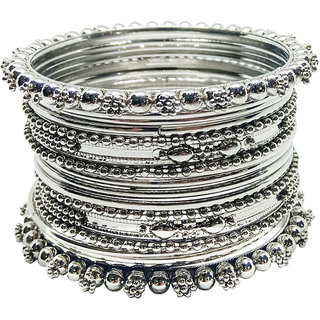 Chrishan Provides Silver Designer Metal Bangle Set For Women.