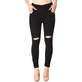 Code Yellow Women's Black Color Ripped Knee Mid Waist Jeans