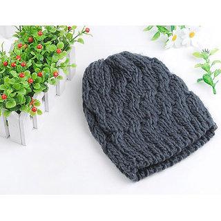Modo Vivendi Winter Knitted Crochet Beanie Cap Stylish Lifestyle Woolen Caps (Dark Grey)