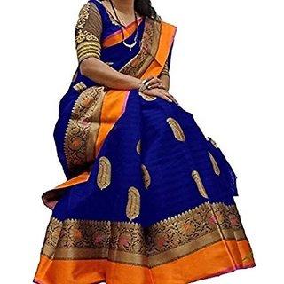Meia Blue Bhagalpuri Silk Printed Saree With Blouse