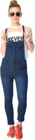 Essence Navy Blue Color Solid Plane Dungarees For girls