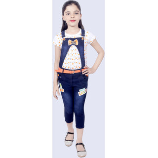 KBKidswear Orange Cotton and Denim Top and Dungaree