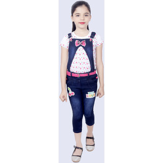 KBKidswear Pink Cotton and Denim Top and Dungaree