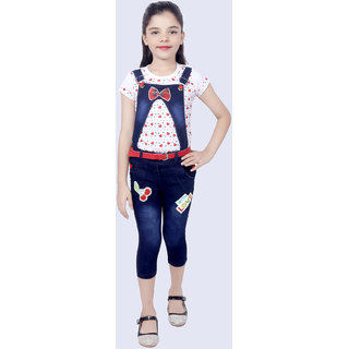 KBKidswear Red Cotton and Denim Top and Dungaree