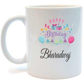 Happy Birthday Bharadwaj Printed Coffee Mug by Juvixbuy