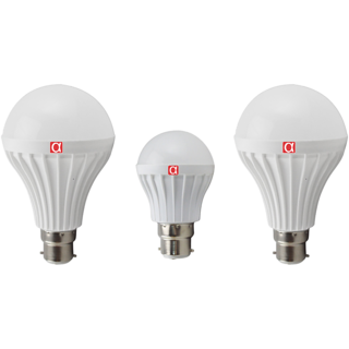 Alpha Led Bulb pack of 3 with 1 bulb of 5 watt and 2 bulbs of 12 watt with 1 year  warranty