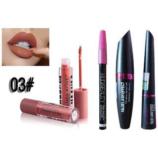Miss Rose Liquid Matte Lip Gloss + Kajal + Mascara + Eyeliner Combo